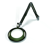 "Green-Lite® 7-1/2"" Racing Green Round LED Magnifier; 43"" Reach; Table Edge Clamp"