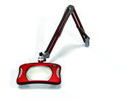 "Green-Lite® 7"" x 5-1/4""Blazing Red Rectangular LED Magnifier; 43"" Reach; Table Edge Clamp"