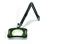 "Green-Lite® 7"" x 5-1/4""Racing Green Rectangular LED Magnifier; 43"" Reach; Table Edge Clamp"