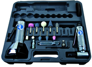 "#2060 - Pneumatic Cut-Off Tool & Right Angle Grinder Kit - Includes: 1) each: Angle Die Grinder with collets; 3"" Cut-Off Tool; Air Fitting (3) Cut-Off Wheels; (10) Mounted Points; (3) Spanner Wrenches; and Case"