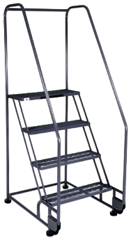 Model 2TR26E4; 2 Steps; 28 x 34'' Base Size - Tilt-N-Roll Ladder