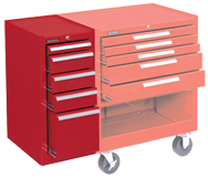 205 Red 5-Drawer Hang-On Cabinet w/ball bearing Drawer slides - For Use With 293, 295 or 297