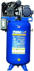 80 Gallon Vertical Tank Two Stage; Belt Drive; 5HP 230V 1PH W/Starter; 18.4CFM@175PSI; 530lbs.