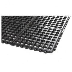 "3' x 3' x 5/8"" Thick Drainage Mat - Black - Grit Coated"