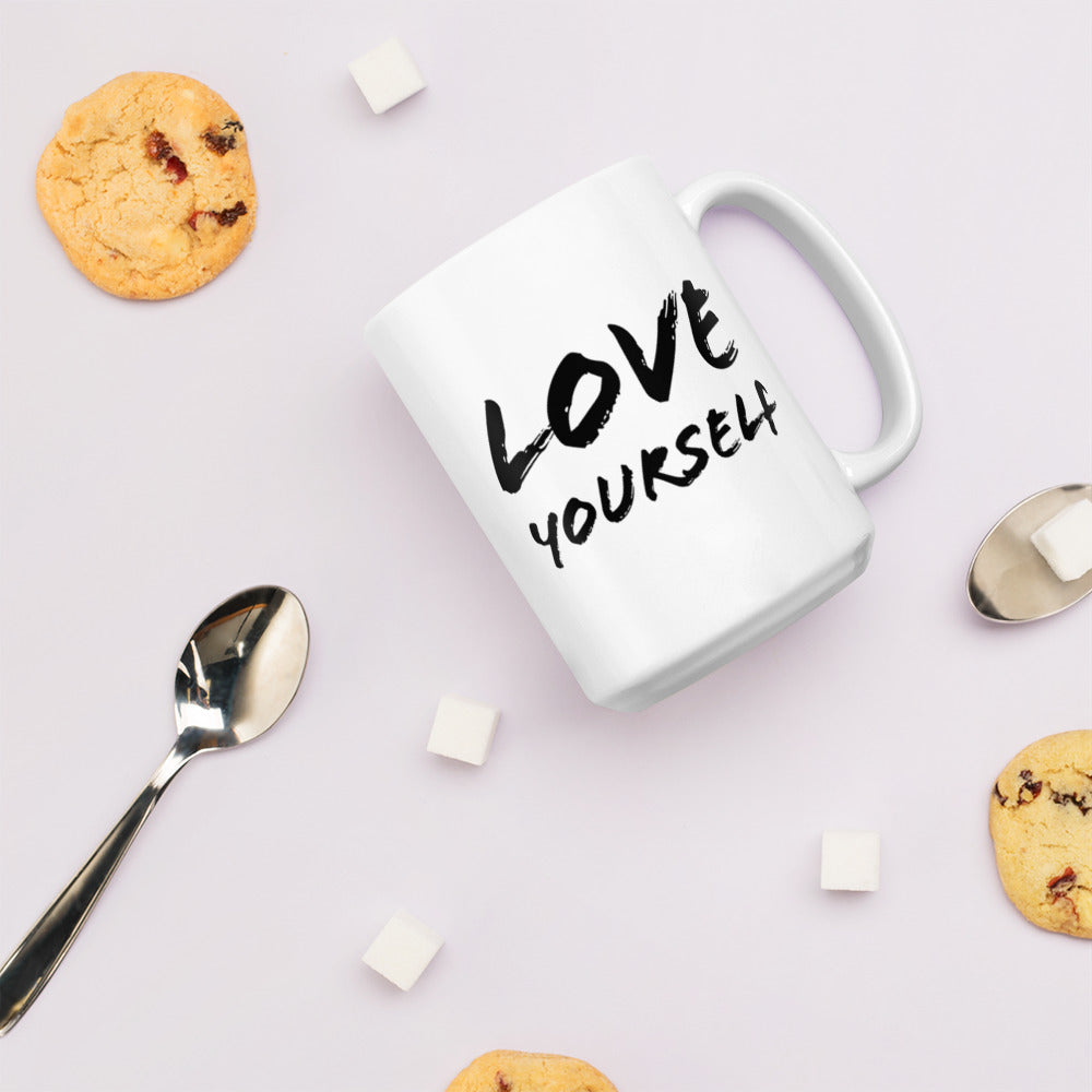 Love Yourself Black & White Glossy Mug