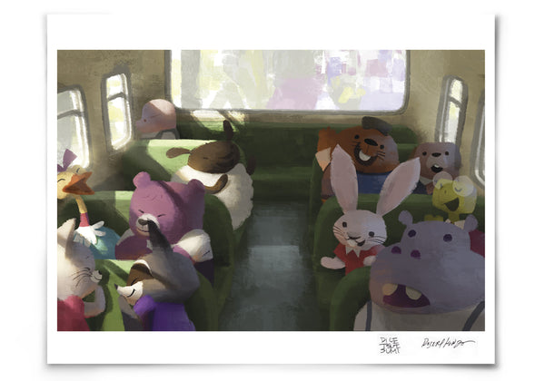 Bus Ride to School Museum Print