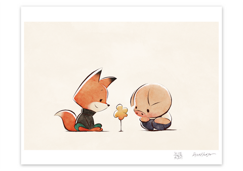 x Pig, Fox, and Flower Museum Print