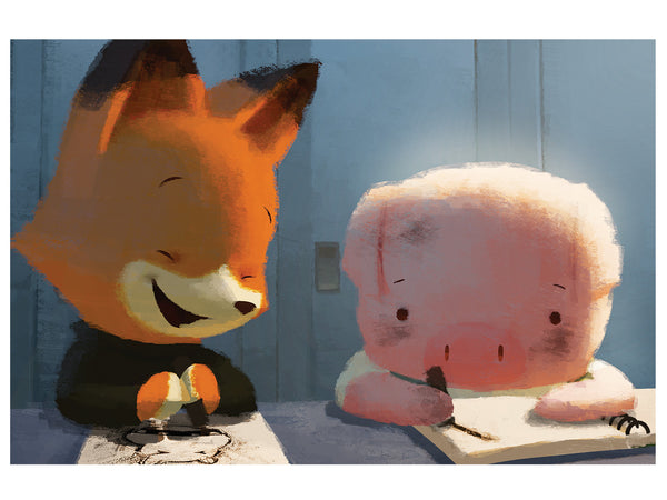 Pig and Fox Print