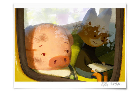 Pig and Fox on the Bus Museum Print