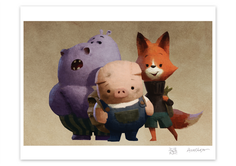 Pig, Fox, and Hippo Museum Print