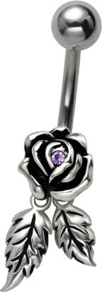 Lavender Rose Belly Ring