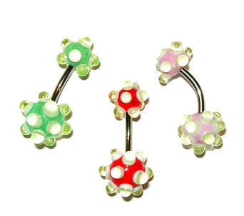 Goose Bumps Belly Button Ring - Green