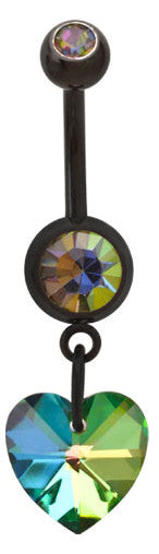Aurora Borealis Black Heart Belly Ring