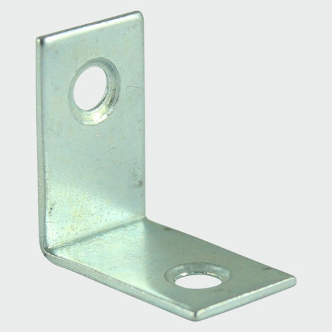 38 x 38 x 16mm Corner Braces - Countersunk Holes, Bright Zinc Plated