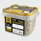 5.0 x 70mm Solo Woodscrews Countersunk-Yellow Zinc Plated Tub of 375