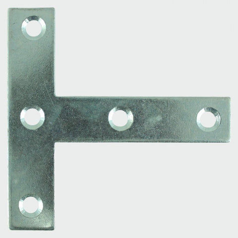 "76 x 76 x 16mm - 3"" Tee Plate - Bright Zinc Plated"