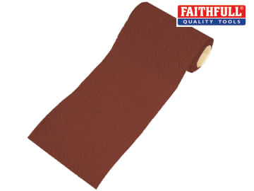 Faithfull Aluminium Oxide Sanding Paper Roll Red Heavy-Duty 115mm x 10m 60G - FAIAR1060R