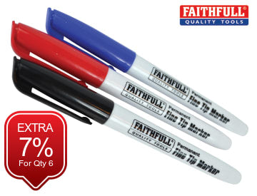 Faithfull Fibre Tip Marker Pen Mixed (Pack 3) - FAIFTMMIX3