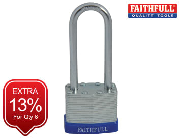 Faithfull Laminated Steel Padlock 40mm Long Shackle 3 Keys - FAIPLLAM40LS