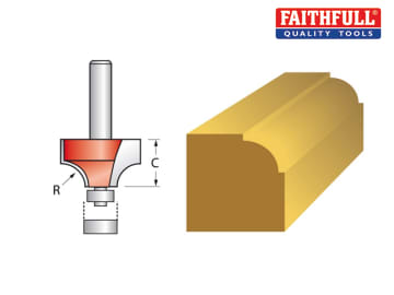 Faithfull Router Bit TCT 6.3mm Rounding Over 1/4in Shank - FAIRB112