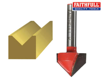 Faithfull Router Bit TCT V-Groove 13.0mm x 19.1mm 1/4in Shank - FAIRB51