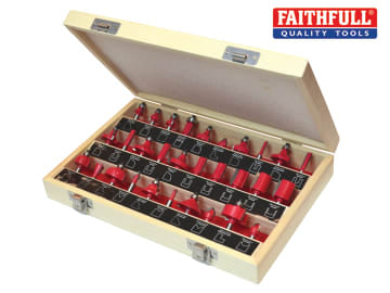 Faithfull  1/4in TCT Router Bit Set, 30 Piece - FAIRBS30