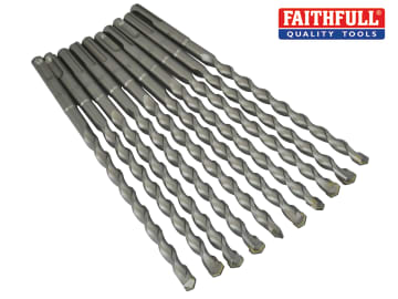 Faithfull SDS Plus Drill Bit 10mm OL: 210mm WL: 150mm Bulk 10 - FAISDS10210B