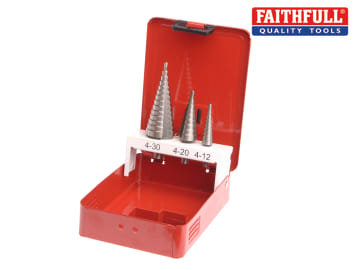 Faithfull HSS Step Drill Bit Set of 3 4-30mm - FAISDSET3