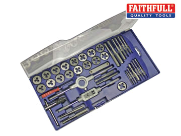 Faithfull Metric Tap & Die Set of 39 Carbon Steel - FAITAPDSET39