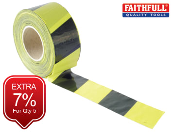 Barrier Tape 70mm x 500m Black & Yellow FAITAPEBARBY