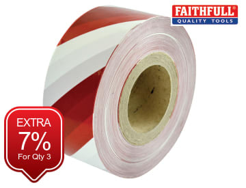 Heavy-Duty Barrier Tape Red & White 70mm x 250m FAITAPEBARHD