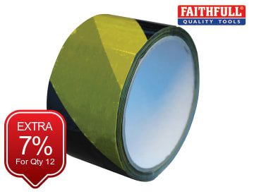 Self-Adhesive Hazard Tape Black/Yellow 50mm x 33m FAITAPEHAZEC