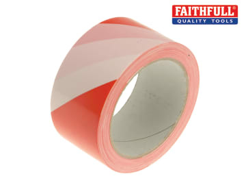 Hazard Warning Safety Tape 50mm x 33m Red & White FAITAPEHAZRW