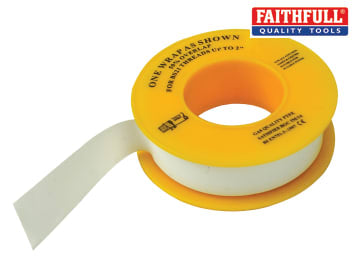 Faithfull  P.T.F.E Gas Tape 12mm x 5m White (Pack 10) - FAITAPEPTGAS
