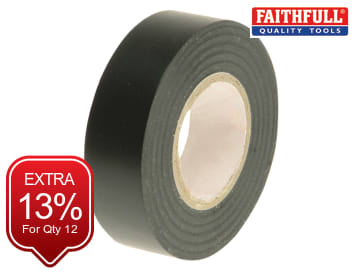 Faithfull PVC Electrical Tape Black 19mm x 20m - FAITAPEPVCBK