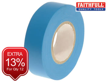 Faithfull PVC Electrical Tape Blue 19mm x 20m - FAITAPEPVCBL