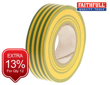 Faithfull PVC Electricial Tape Green / Yellow 19mm x 20m - FAITAPEPVCGY