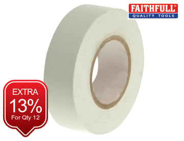 Faithfull PVC Electrical Tape White 19mm x 20m - FAITAPEPVCW