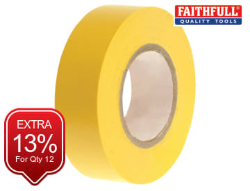 Faithfull PVC Electrical Tape Yellow 19mm x 20m - FAITAPEPVCY