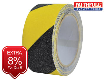 Anti-Slip Tape Black/Yellow 50mm x 5m FAITAPESTYB5