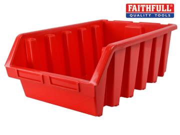 Faithfull Interlocking Storage Bin Size 5 Red 333 x 500 x 187mm - FAITBBIN5