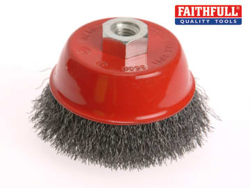 Faithfull Wire Cup Brush 100mm M14x2, 0.30mm Stainless Steel Wire - FAIWBC100S