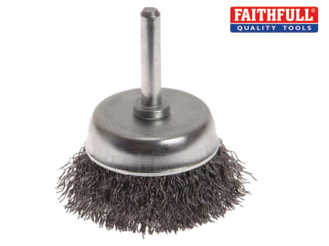 Faithfull Wire Cup Brush 50mm x 6mm Shank, 0.30mm Wire - FAIWBS50