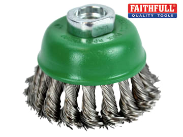 Faithfull  Wire Cup Brush Twist Knot 65mm M14x2, 0.50mm Stainless Steel Wire - FAIWBT65S