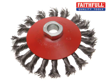 Faithful  Conical Wire Brush 100mm M14x2 Bore, 0.50mm Wire - FAIWBTC100
