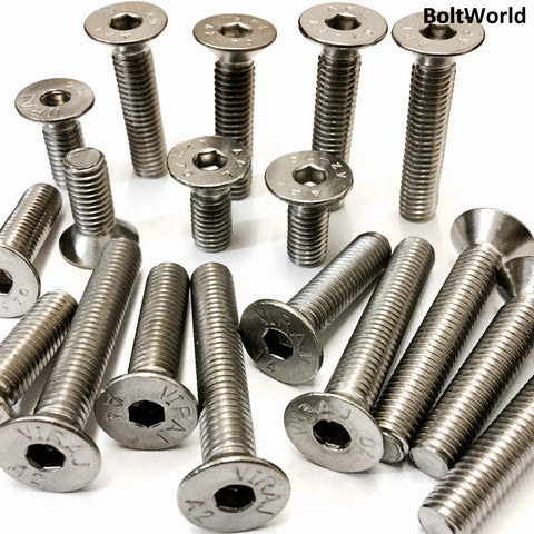 M12 Socket Countersunk Screws, Stainless Steel A2 (304), DIN 7991