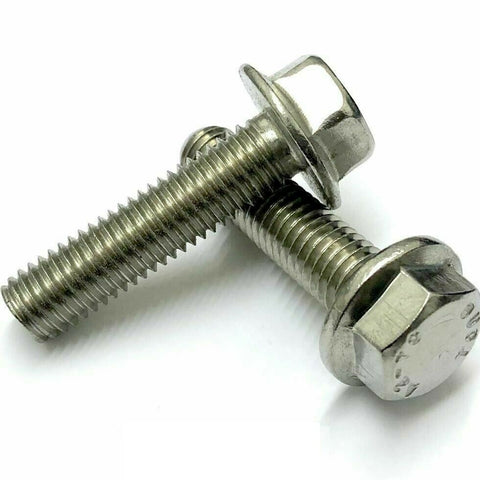 M6 Flanged Hexagon Bolts, Stainless Steel A2 (304), DIN 6921