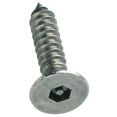 No. 8 Security Self-Tappers - Pin Hex Countersunk, Stainless Steel A2 (304)