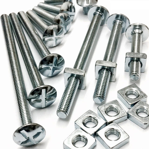 M10 Roofing Bolt & Square Nut Mild Steel Zinc Plated