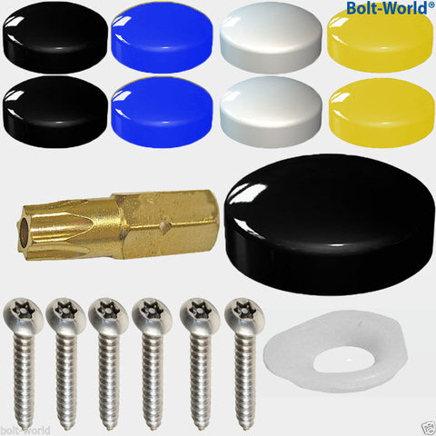 17 x Number Plate Fixings Security Screws Cover Kit Black White Yellow Blue Cover Caps